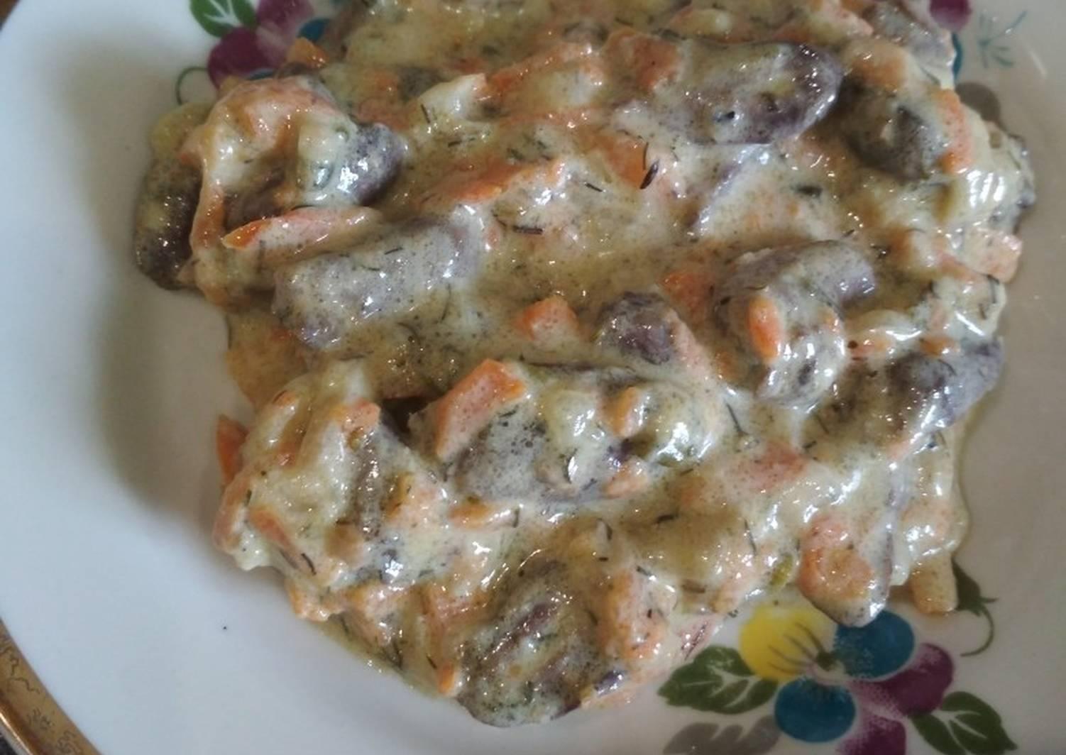 Сердечки куриные со сметаной рецепт с фото