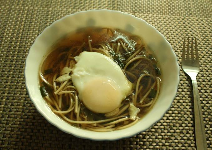 Spring Onion Noodle soup with Poached egg