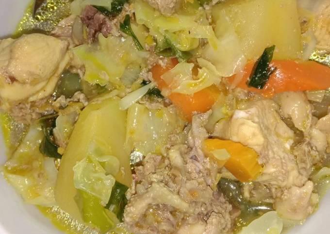 Menu diet makan siang Sup Ayam No minyak,ckp minyak dri ayam aja