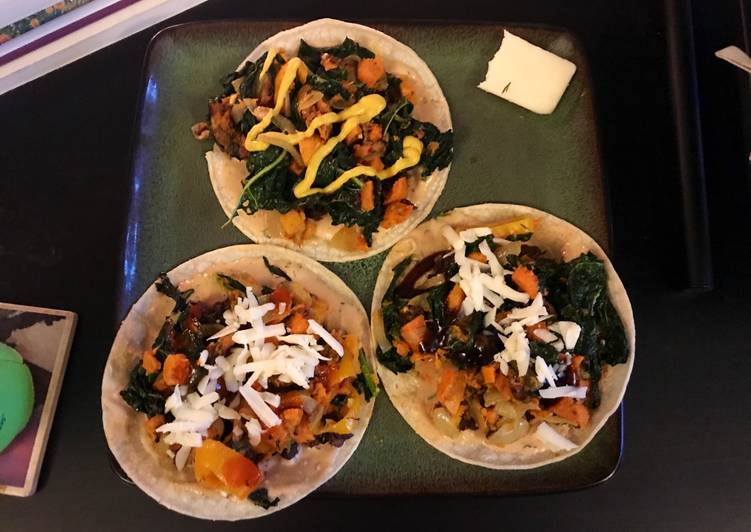 Bacon, Kale and Sweet Potato Tacos