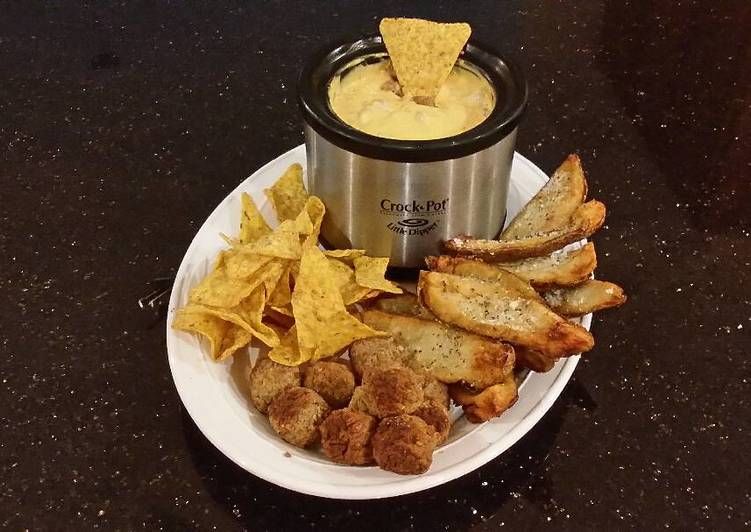 Potato Skin Dippers with Sausage Cheese Dip with Chips and Meatballs