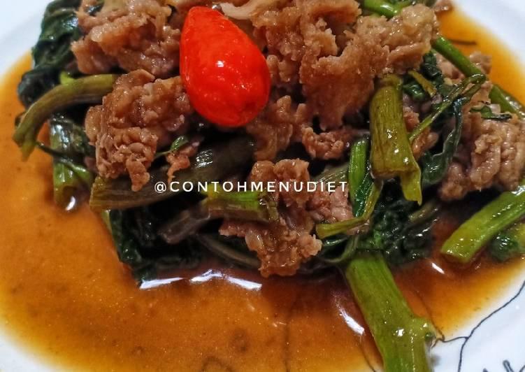 Sayur Kangkung cah terasi daging sehat no garam diet gula