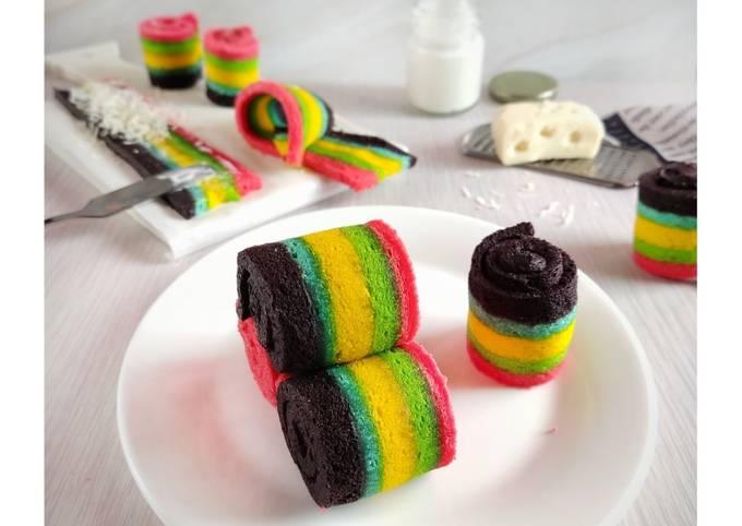 Resep Rainbow Roll Cake Anti Gagal