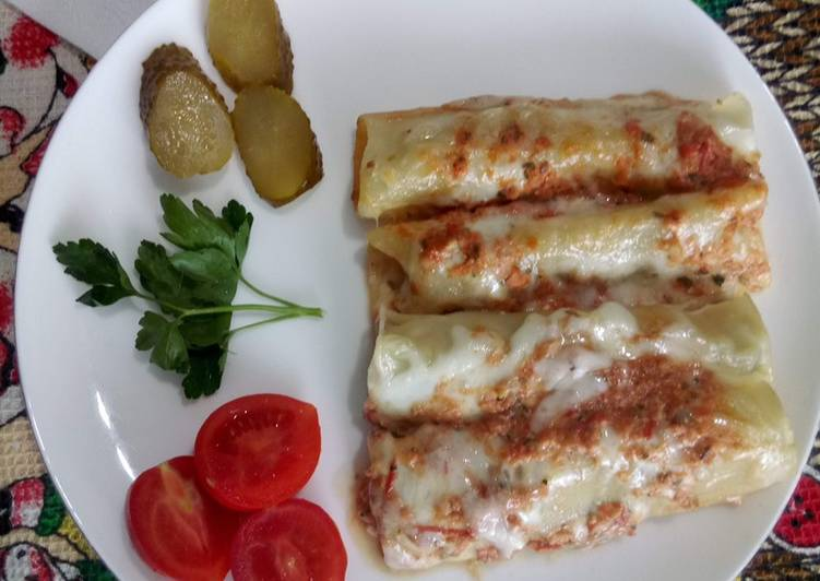 Les Meilleures Recettes de Cannelloni farci à la viande hachée et au fromage