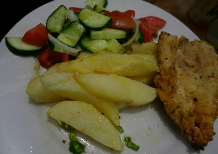 Steps to Prepare Ultimate Fish and chips with cucumber salad