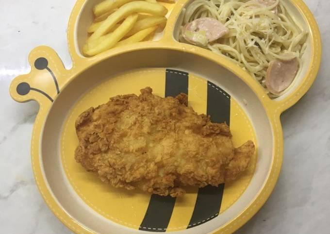 Fish and chips tanpa air soda dan spaghetti carbonara