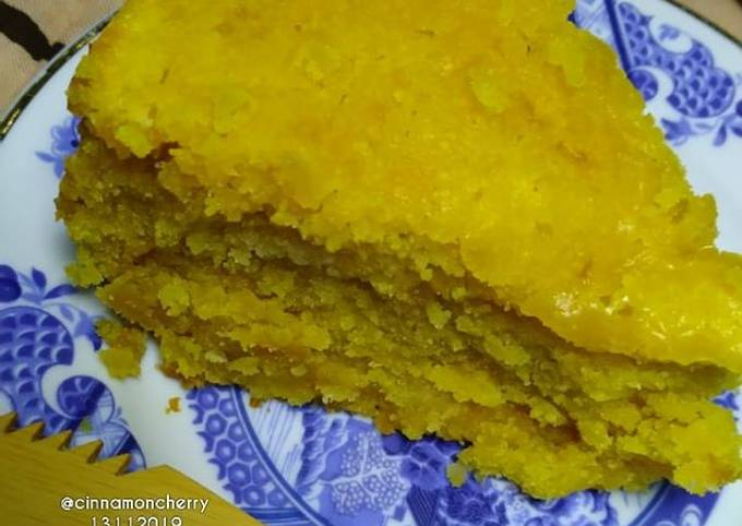 Depression Mango Cake Baked in Rice Cooker (No Eggs, No Milk)