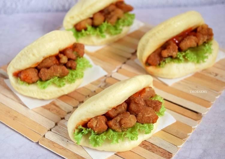 Resep Bakpao Lembut (Bakpao Lipat Isi Ayam Popcorn) Paling Enak
