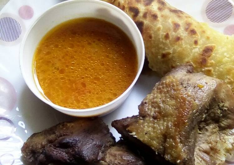 How to Make Homemade Deep fried duck served with soup and chapati