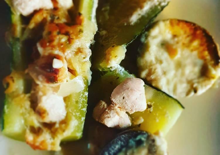 Comment Servir Courgette farcie et champignon mozzarella