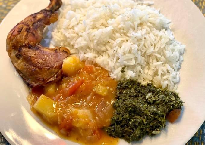 Cassava leaves (Kisamvu) and potato & tomato sauce
