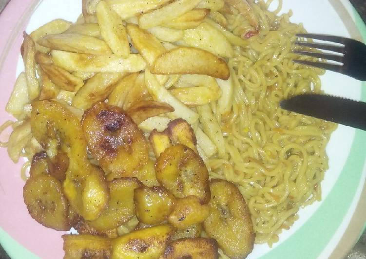 Chips,plantain and Indomie(Breakfast idea)