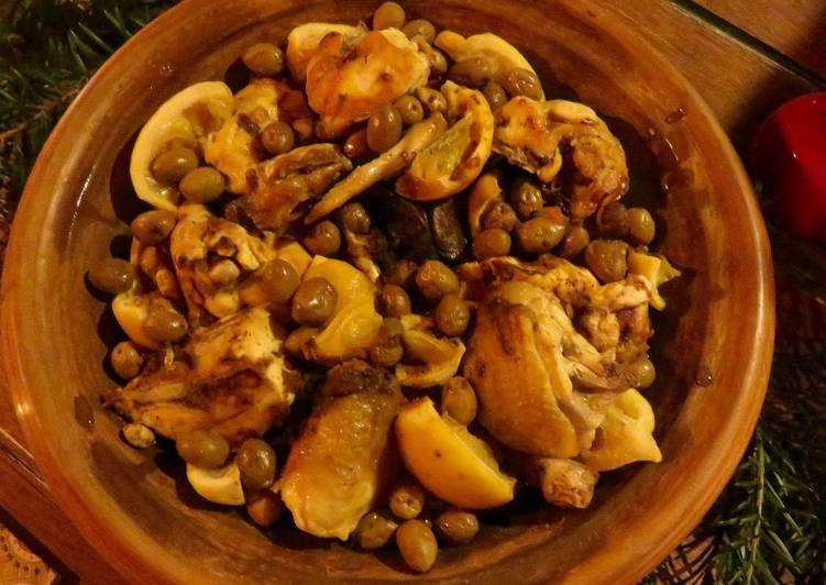 Comment Cuisiner Tajine de Poulet aux citrons confits et aux olives