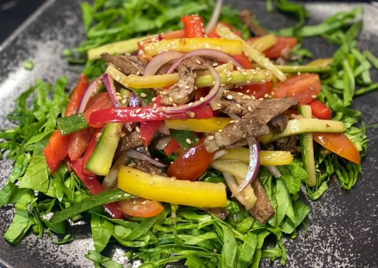 Recette: Salade de boeuf sur lit d'epinards