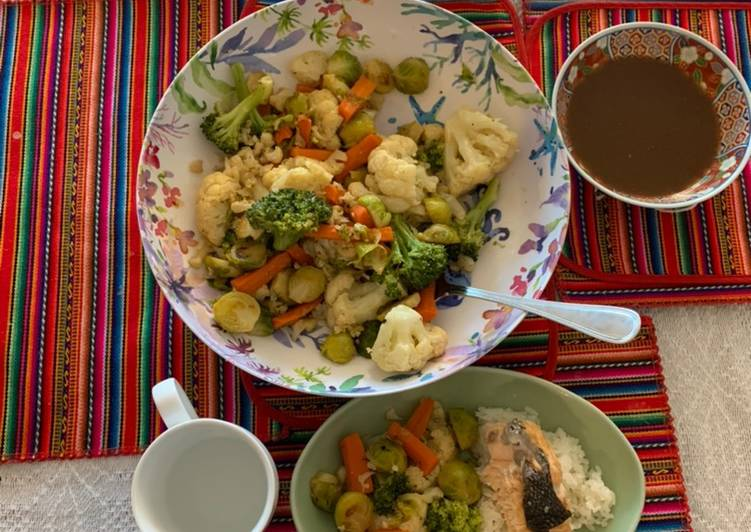 Japanese-inspired steamed vegetables and baked salmon with a miso-soy-mirin-garlic-ginger sauce, Help Your Heart with The Right Foods