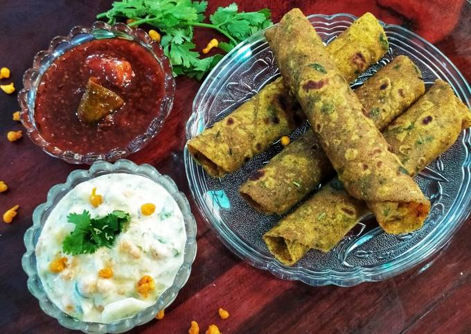 Step-by-Step Guide to Make Jamie Oliver Methi Thepla with boondi Raita and Sweet Mango pickle