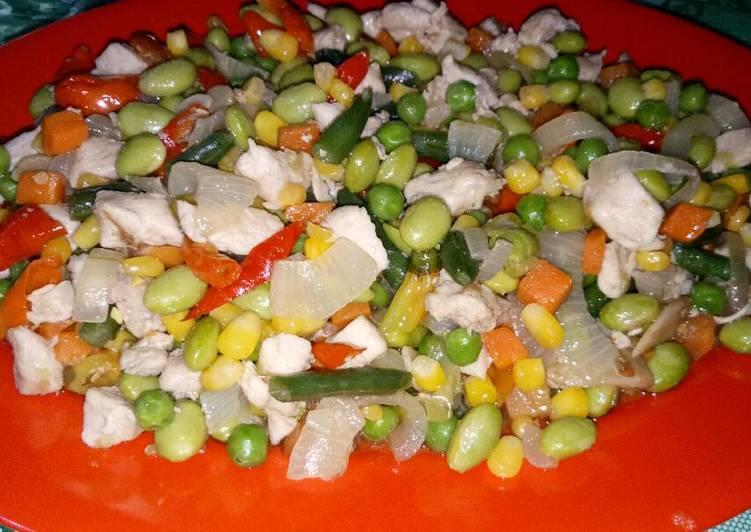 mudahnya memasak oseng kacang kedelai ayam saos tiram  enak Resepi Sup Ayam Restoran Enak dan Mudah