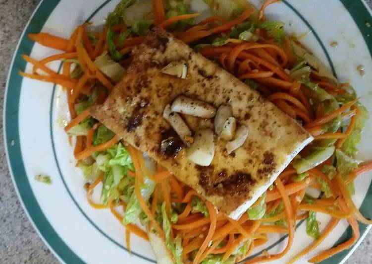 Fried Tofu on Carrot Noodles