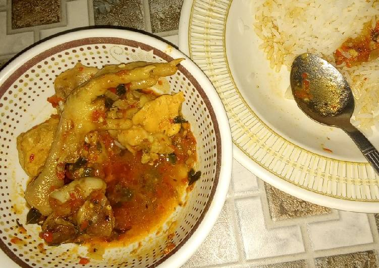 White rice and chicken pepper soup