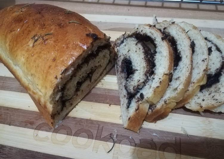 Poppy seed bread with chocolate ganache filling