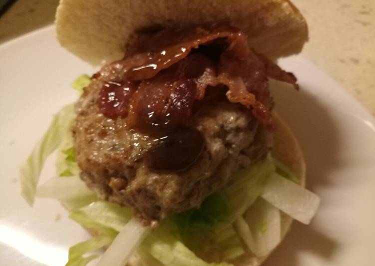 Recipe of Quick Homemade sage & onion pork burger with bacon and HP brown sauce