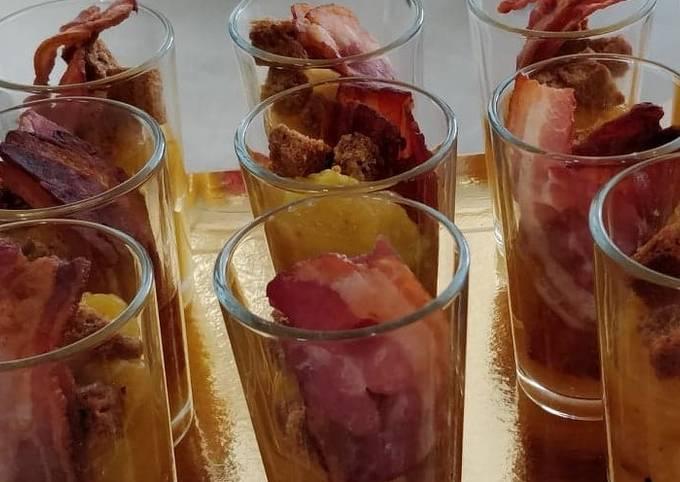 Chutney mangue-ananas, pain d'épices et lard fumé