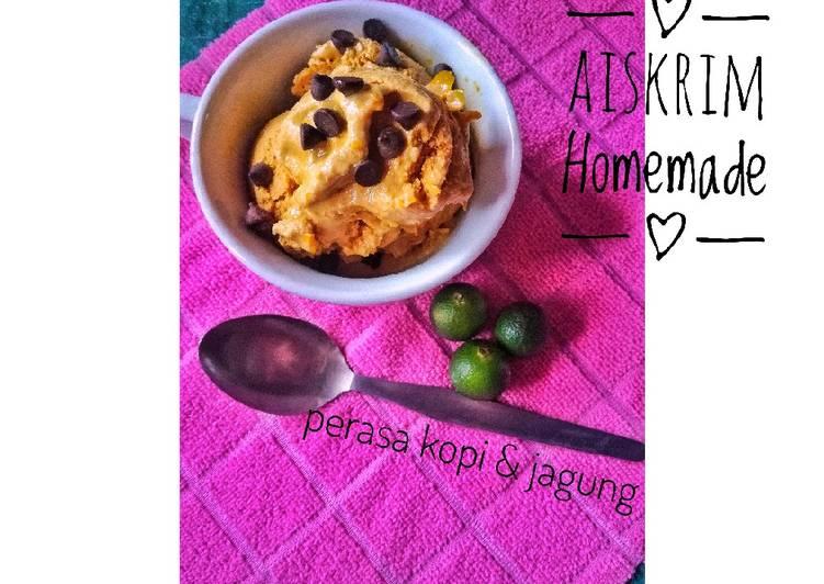 Aiskrim Homemade - perasa kopi & jagung - resepipouler.com