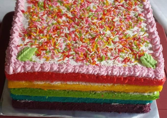 Rainbow cake kukus ny liem