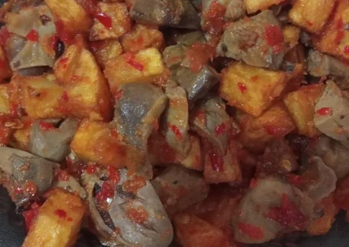 Balado ati ampela + kentang