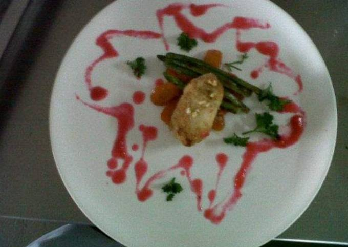 Chicken kiev with cherry sauce