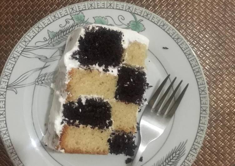 Vanilla chocolate mint checker board cake