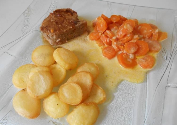 Filet mignon mariné, pommes soufflées et carottes a la crème