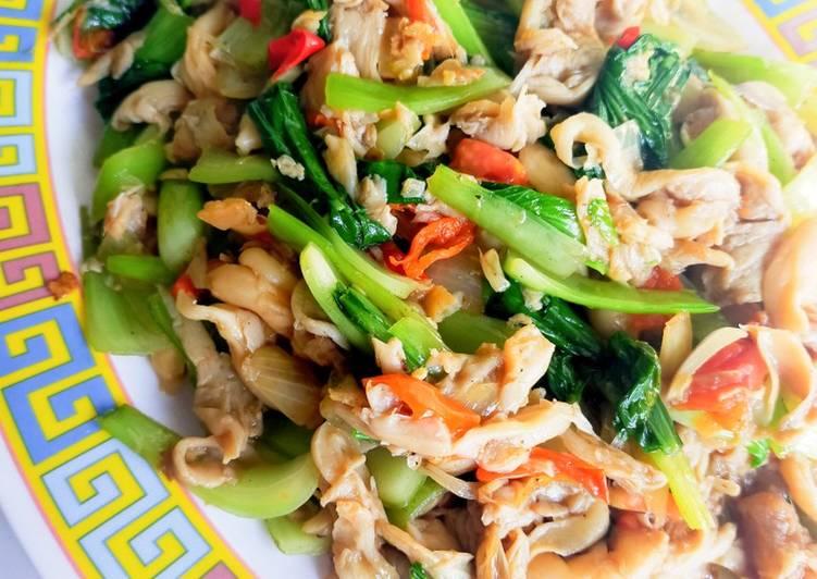 Recipe: Tasty Cah jamur pakcoy saos tiram