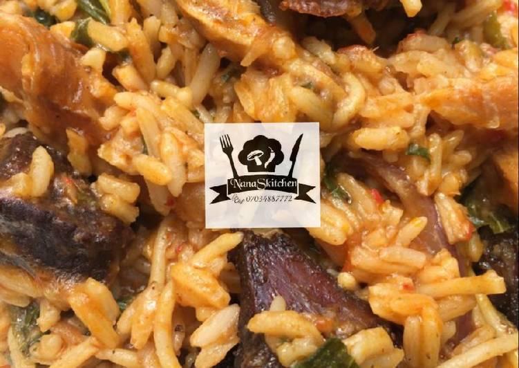 Native jollof rice and spaghetti 😋