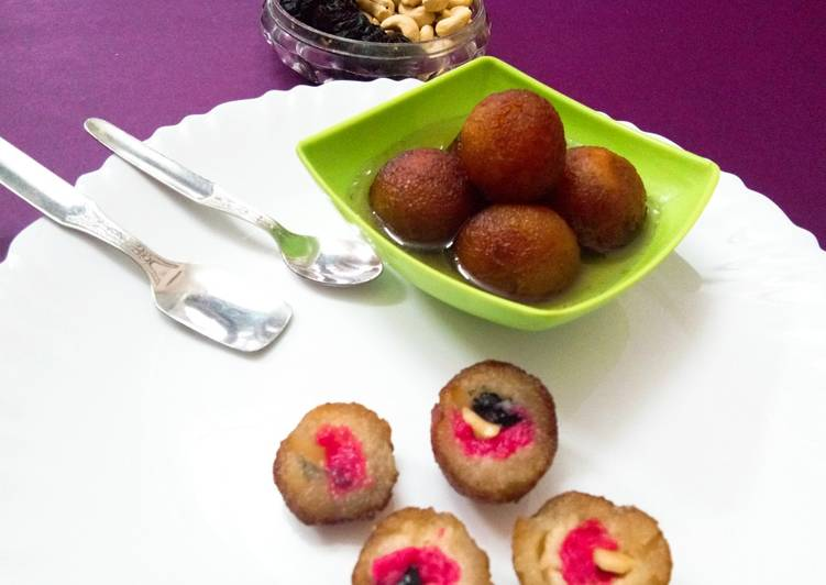 Strawberry jam nuts stuffed gulab jamun