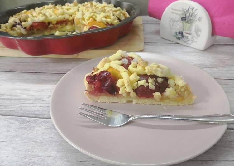 Glutén-, tej- és tojásmentes gyümölcsös pite recept foto
