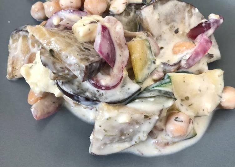 Auberginen-Zucchini-Salat mit Kichererbsen