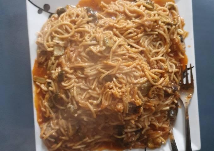 Courgette Mushroom Spaghetti Pasta