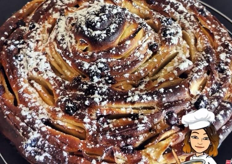 Brioche aux pommes et pépites de chocolat