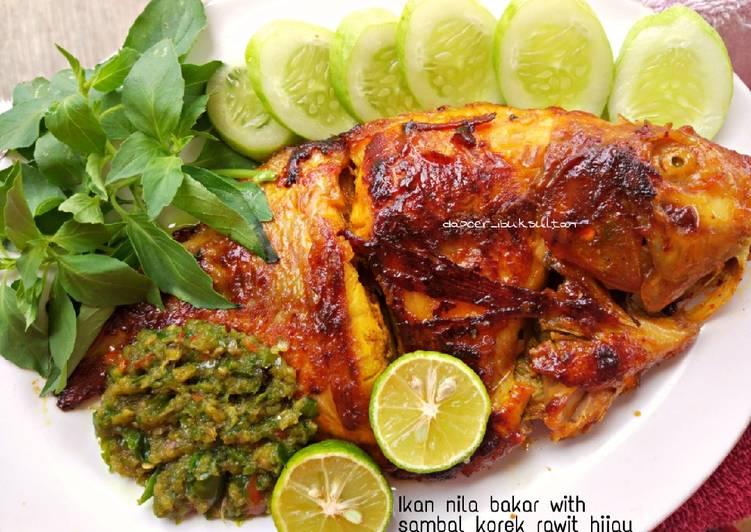Ikan nila bakar sambal korek rawit hijau
