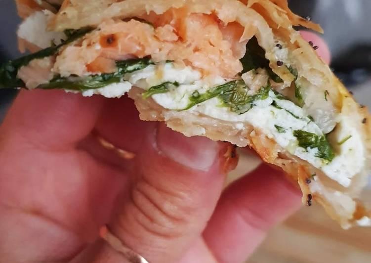 Tresse feuilletée ricotta saumon épinards