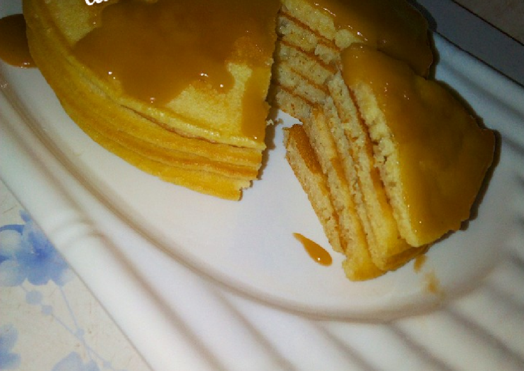 Steps to Make Any-night-of-the-week Butter Milk pancake with caramel sauce
