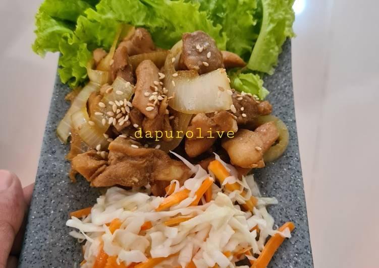Ayam Teriyaki dan Salad ala Hokben