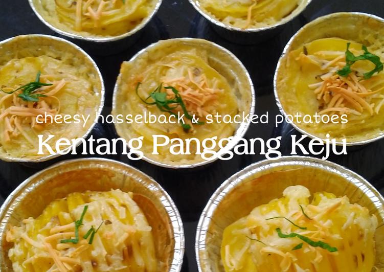 Kentang Panggang Keju (cheesy hasselback & stacked potatoes)