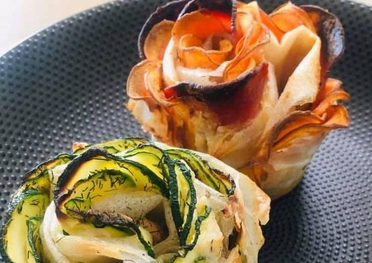 Le moyen le plus simple de Faire Parfait Fleurs de Brick Courgette Saumon et Patate douce Chorizo