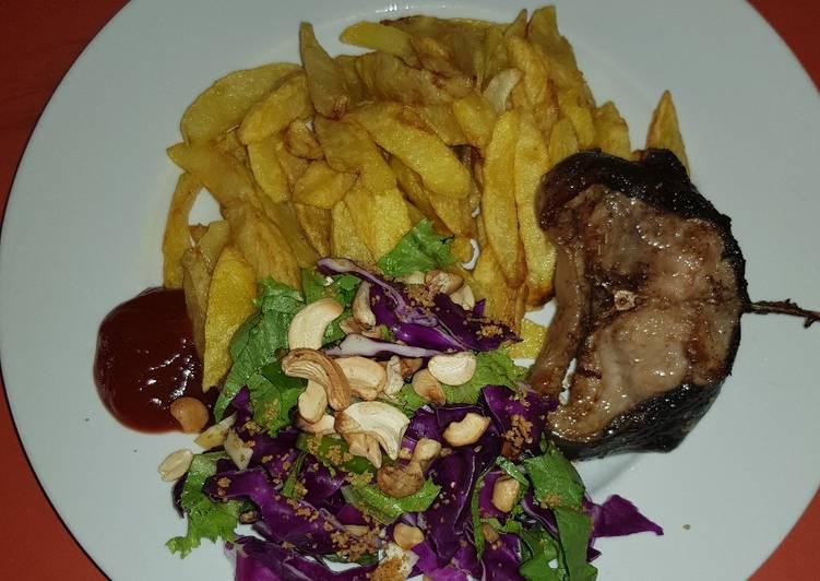 Potatoe, fish &salad