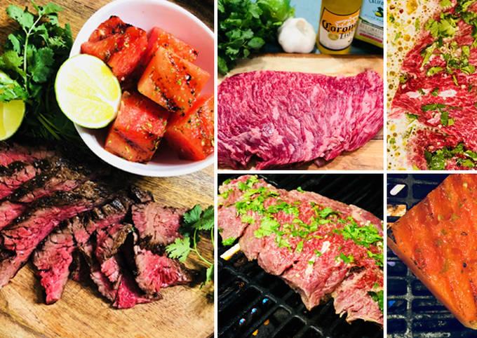 Corona Marinated Fullblood Wagyu Bavette Steak with Grilled Watermelon