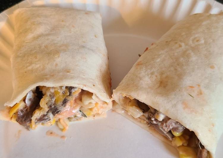 Steak or chicken with corn and black bean wraps