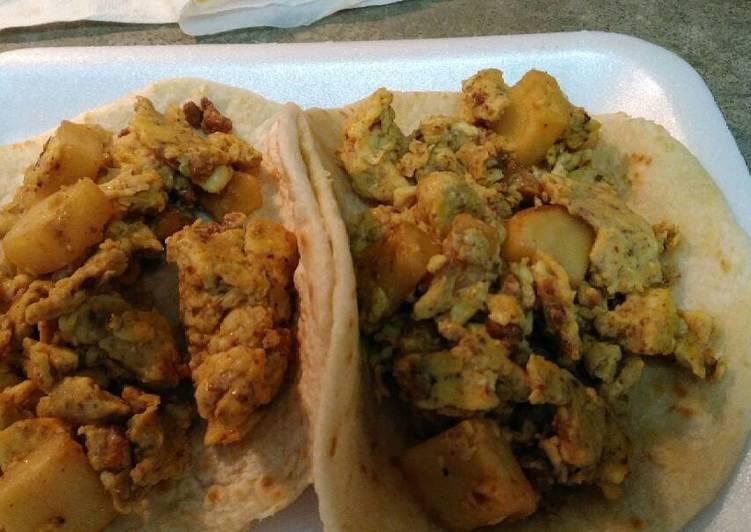 Recipe: Appetizing Chorizo Egg and Potatoes Tacos