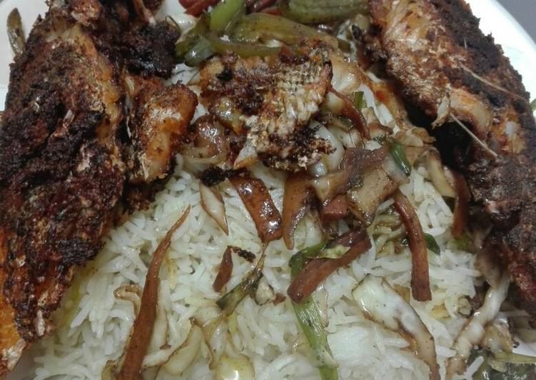 Grilled fish vegetable rice